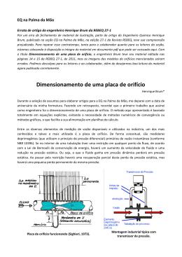 Dimensionamento de uma placa de orifício (REBEQ – EQ
