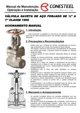 VÁLVULA GAVETA DE AÇO FORJADO DE ½`` A 1`` CLASSE 1500