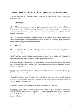 PROGRAMA DE OUTORGA DE OPÇÃO DE COMPRA OU