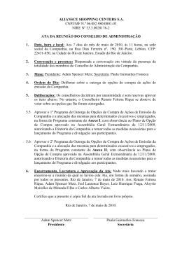 ALIANSCE SHOPPING CENTERS S.A. CNPJ/MF N.º 06.082.980