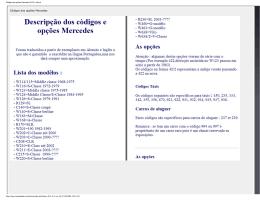 Códigos das opções Mercedes W123 e não só