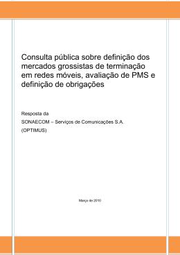 Consulta pública sobre definição dos mercados