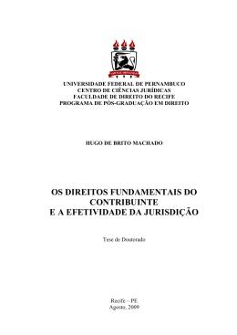 os direitos fundamentais do contribuinte e a efetividade da jurisdição