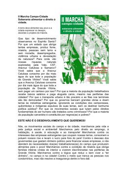 II Marcha Campo-Cidade Soberania alimentar e direito à cidade