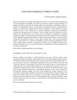 A EDUCAÇÃO PATRIMONIAL E O DIREITO À CIDADE Ivanilda