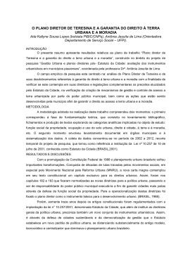 o plano diretor de teresina e a garantia do direito à terra urbana e a