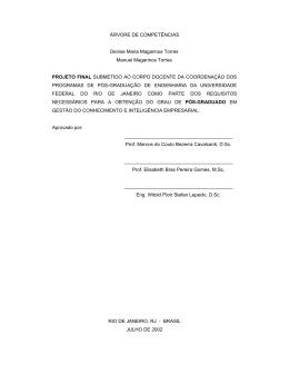 ÁRVORE DE COMPETÊNCIAS Denise Maria Magarinos Torres