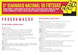 3º SEMINÁRIO NACIONAL DO FNTSUAS programação