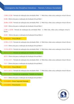 Cronograma das Disciplinas Interativas – Homem