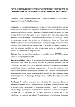 perfil epidemiológico dos pacientes atendidos por um centro de