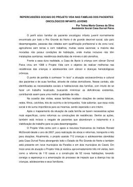 REPERCUSSÕES SOCIAIS DO PROJETO VIDA NAS FAMÍLIAS