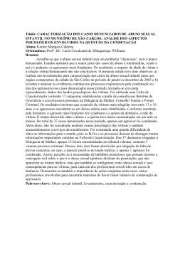 Título: CARACTERIZAÇÃO DOS CASOS DENUNCIADOS DE