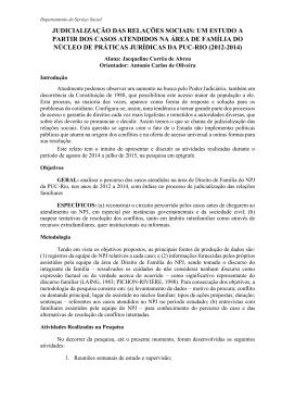 judicialização das relações sociais: um estudo a partir dos casos