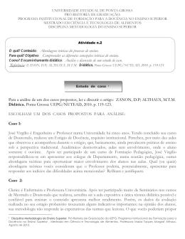Para a análise de um dos casos propostos, ler e discutir o artigo