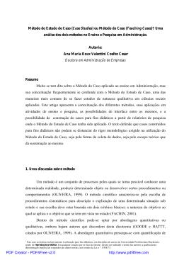 Método do Estudo de Caso (Case Studies) ou Método