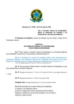 Decreto-Lei n.º 9.295 – de 27 de maio de 1946 Cria o