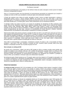 Indicador ANEFAC dos países do G-20 – Edição 2013