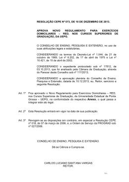 Resolução CEPE nº 073/2013 - Universidade Estadual de Ponta