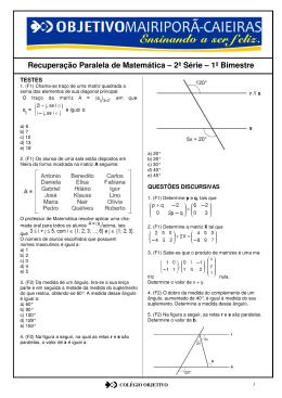 Recuperação Paralela de Matemática – 2ª Série – 1º Bimestre
