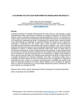 A economia política dos investimentos brasileiros em angola - IRI-USP