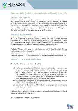 Regimento do Comitê de Investimentos da Aliansce Shopping