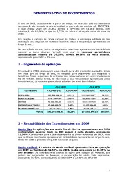 DEMONSTRATIVO DE INVESTIMENTOS 1 – Segmentos de