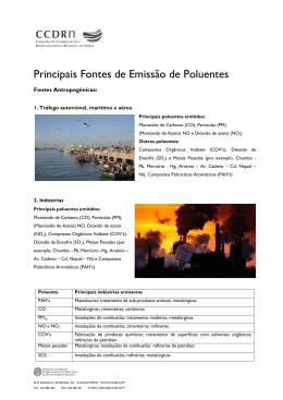 Principais Fontes de Emissão de Poluentes - CCDR-N