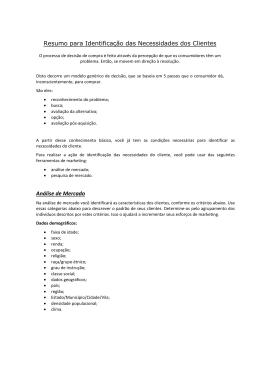 Resumo para Identificação das Necessidades dos Clientes Análise