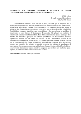 SATISFAÇÃO DOS CLIENTES INTERNOS E