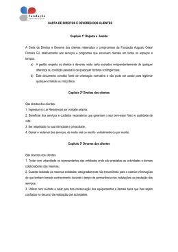 CARTA DE DIREITOS E DEVERES DOS CLIENTES Capítulo 1º