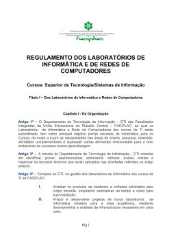 regulamento dos laboratórios de informática e de redes de