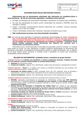 DOCUMENTAÇÃO BOLSA GRATUIDADE PARCIAL