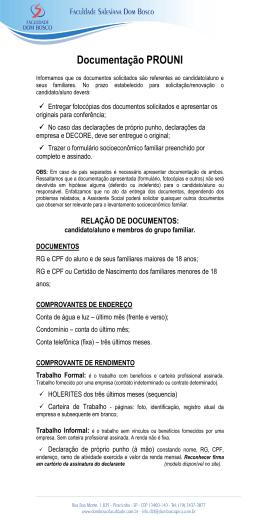 confira a lista de documentos para entrega