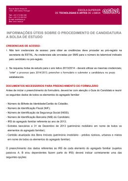 informações úteis sobre o procedimento de candidatura a