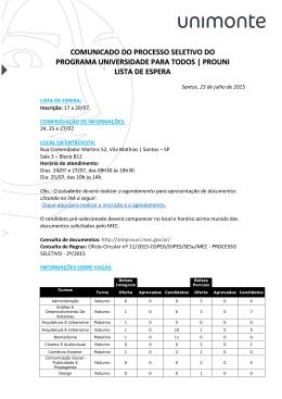 comunicado do processo seletivo do programa