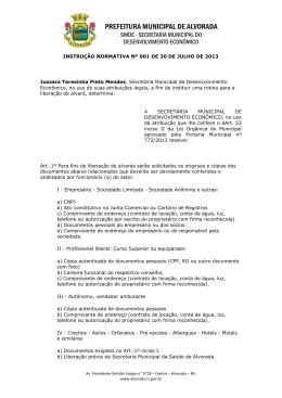 INSTRUÇÃO NORMATIVA Nº 001 DE 30 DE JULHO DE 2013