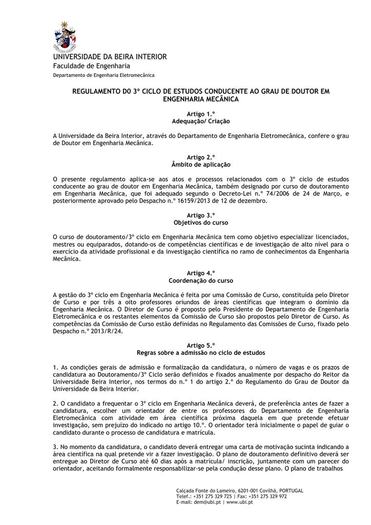Regulamento Do 3º Ciclo Doutoramento Em Engenharia Mecânica