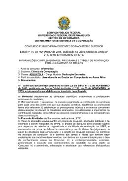 Edital nº 74, de NOVEMBRO de 2015, publicado no Diário Oficial da