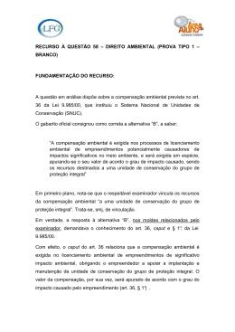 RECURSO A QUESTAO 58 - DIREITO AMBIENTAL
