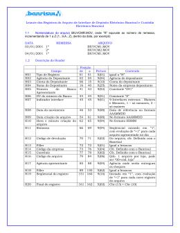 Layout do arquivo de Custódia Eletrônica de Cheques
