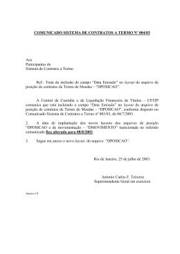 COMUNICADO SISTEMA DE CONTRATOS A TERMO Nº