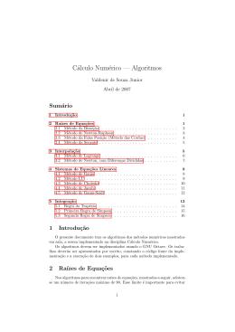 Cálculo Numérico — Algoritmos