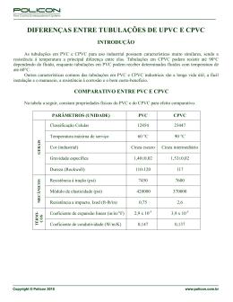 DIFERENÇAS ENTRE TUBULAÇÕES DE UPVC E CPVC