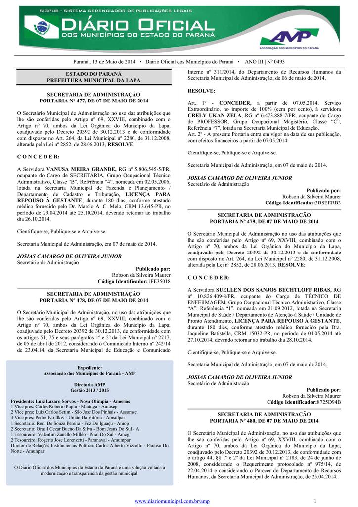 3df05e9f4 Paraná , 13 de Maio de 2014 • Diário Oficial dos Municípios do