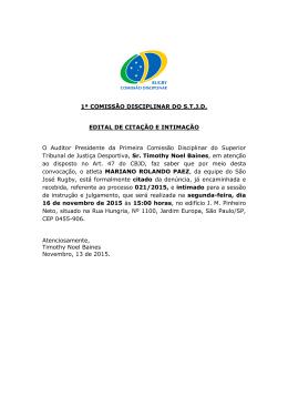 Edital de Citação e Intimação - Processo 021-2015