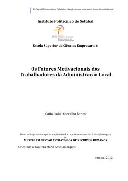 Os Fatores Motivacionais dos Trabalhadores da Administração Local