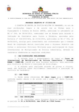 Processo Seletivo nº 07-2015 - Polícia Militar do Maranhão.