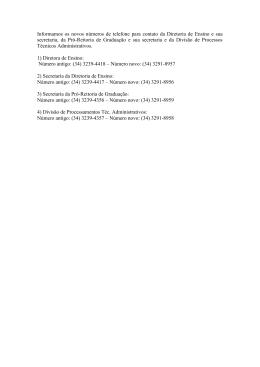 Informamos os novos números de telefone para contato da Diretoria