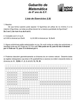 Gabaritos da Lista L8 de Matemática - 6º ano do E.F