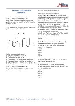 Exercícios de Matemática Polinômios